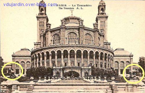 Paris, l'ancien palais du Trocadéro, carte postale ancienne, 3, le palais et la fontaine