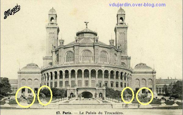 Paris, l'ancien palais du Trocadéro, carte postale ancienne, 4, le palais et la fontaine