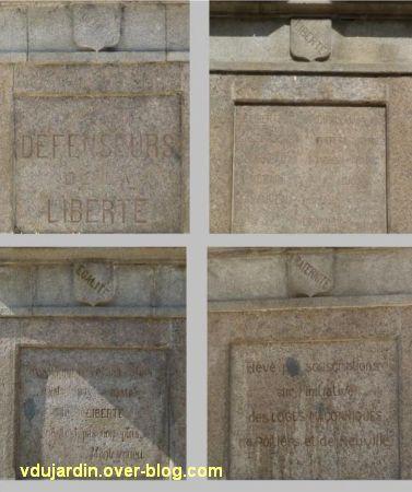 Poitiers, la statue de la Liberté, 9, les faces avec du texte