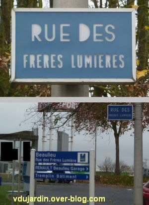 Poitiers, plaque de la rue des frères Lumière avec et sans s