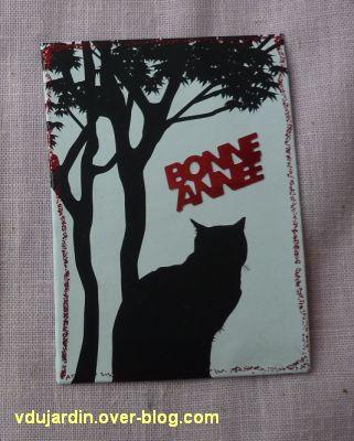 Une ATC silhouette de chat pour Dalinele (meilleurs voeux 2011)