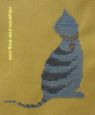Un chat rayé brodé pour Dalinele
