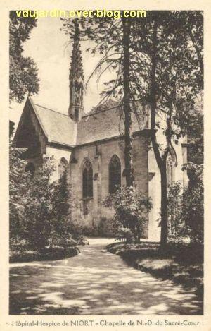 Niort, la chapelle de l'hôpital sur une carte postale ancienne