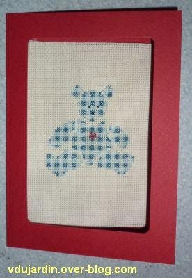 Un nounours brodé pour Dianou, la carte