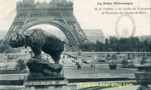 Paris, l'ancien palais du Trocadéro, carte postale ancienne, le rhinocéros, 1