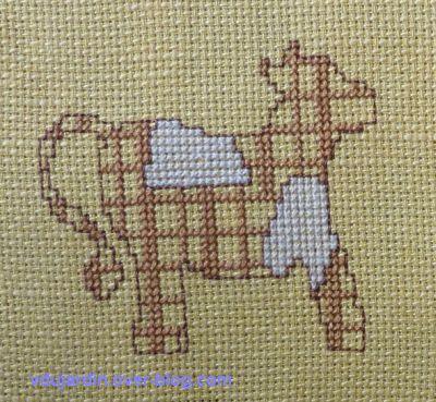 Vache brodée pour noël 2011 pour Marquise la Vache