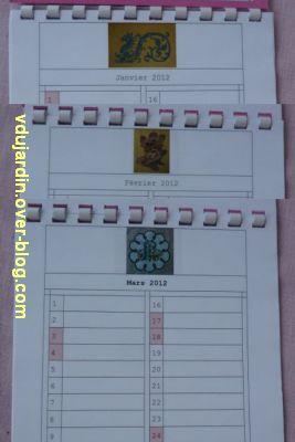 Voeux 2012, 08, de la part de Capucine, un calendrier original, janvier à mars