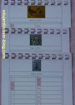 Voeux 2012, 09, de la part de Capucine, un calendrier original, avril à juin