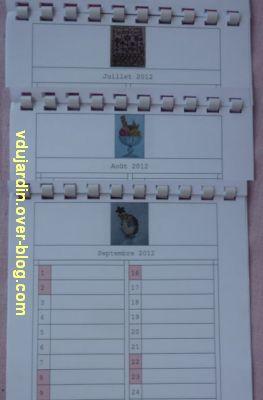 Voeux 2012, 10, de la part de Capucine, un calendrier original, juillet à septembre