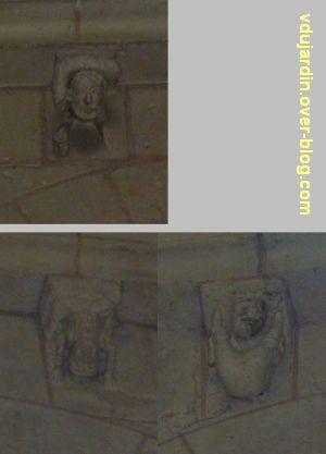 Défi photo, endroit/envers, Poitiers, 5, des modillons avec acrobates dans deux églises gothiques