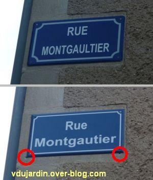 Une plaque de la rue Montgautier à Poitiers avant et après correction