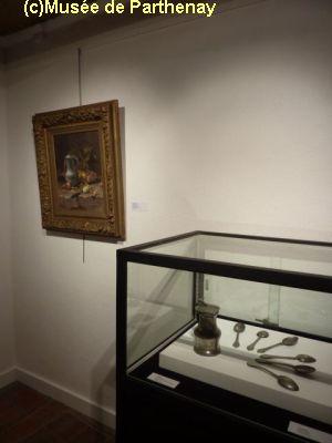 Parthenay, exposition orfèvrerie, 2012, 3, étains et tableau