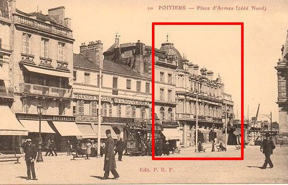 Poitiers, banque populaire, 1, sur une carte postale ancienne