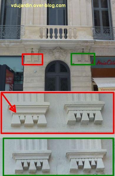 Poitiers, consoles de la banque populaire, 2, détail de l'erreur du sculpteur