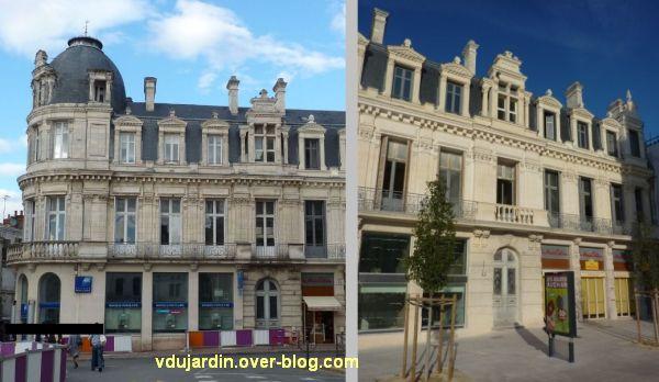 Poitiers, banque populaire, 2, la façade avant et après nettoyage