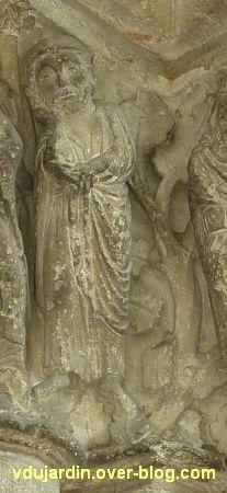 Poitiers, portail Saint-Michel de la cathédrale, droite, 04, Joseph derrière l'Annonciation