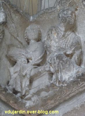 Poitiers, portail Saint-Michel de la cathédrale, gauche, 07, scribe et Hérode