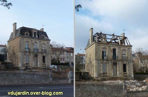 Poitiers, la maison Rolland en cours de démolition, fin février 2012