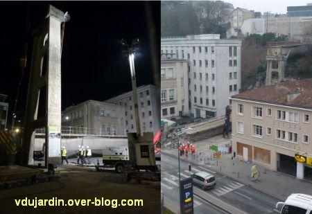 Poitiers, démontage de la grande passerelle, semaine 9, 08, quatrième travée, les piliers subsistent
