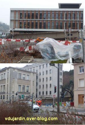Poitiers, démontage de la grande passerelle, semaine 9, 09, quatrième travée, découpe au sol
