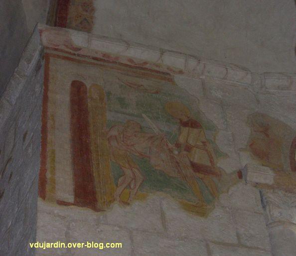 Poitiers, la charité de Martin, peinture murale dans l'église Saint-Hilaire