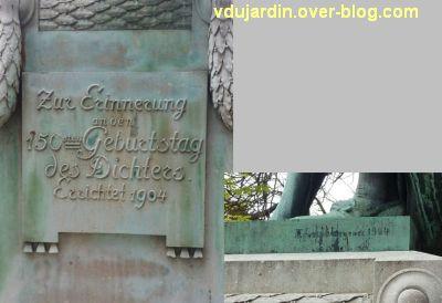 Le monument Goethe à Strasbourg, 4, inscription et signature sur le socle de Goethe