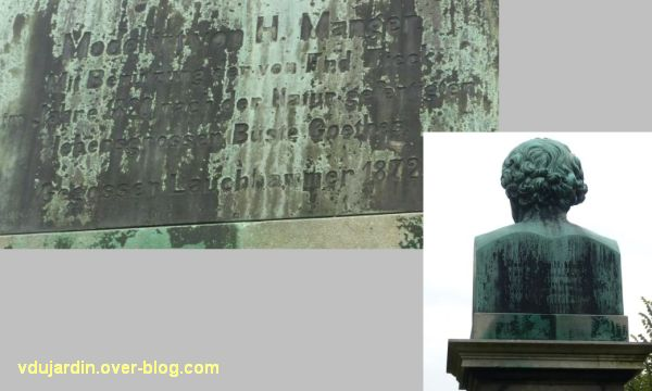 Strasbourg, le buste de Goethe, 3, l'inscription au dos