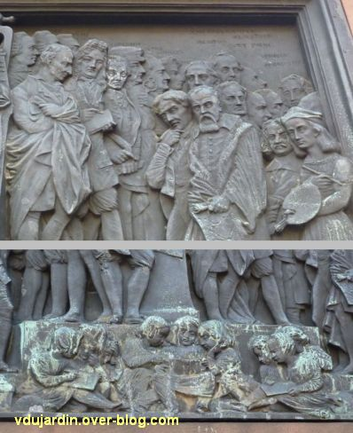 Strasbourg, monument Gutenberg, 6, le relief Europe, deux détails