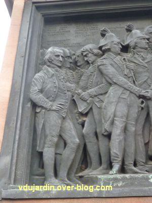 Strasbourg, monument Gutenberg, 8, le relief Amérique, détail