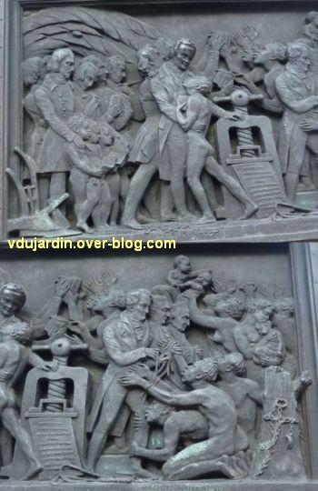 Strasbourg, monument Gutenberg, 10, le relief Afrique, deux détails