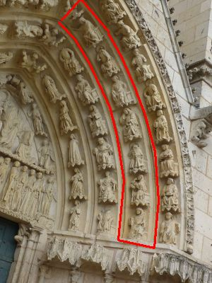 Cathédrale de Poitiers, façade ouest, portail nord, voussure, quatrième rouleau