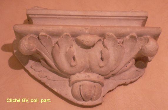 Modèle en plâtre d'une console de l'immeuble de la banque de France