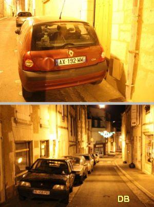 Poitiers, avril 2012, 10, voitures mal stationnées de nuit rue des Trois-Rois