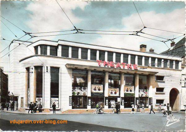 Le nouveau théâtre de Poitiers, carte postale ancienne, vers 1955, façade sur la place