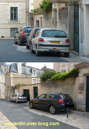 Voitures mal garées rue Sainte-Radegonde à Poitiers, 3 et 7 avril 2012