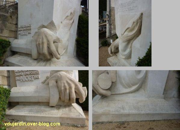 Niort, les monuments à la résistance, 4, détails du monument aux soldats sans uniforme