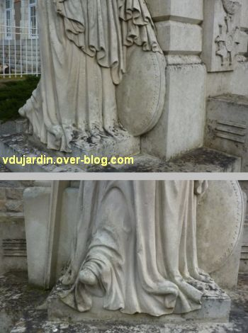 Monument aux morts du Marchioux à Parthenay, 5, détails du blouclier et des pieds nus