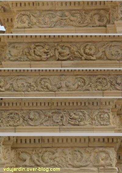 Poitiers, portail des Augustins, 3, assemblage du décor de l'entablement
