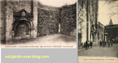 Poitiers, institution des Mlles d'Auzay à Saint-Hilaire, 1, angle de la cour contre l'église