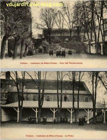 Poitiers, institution des Mlles d'Auzay à Saint-Hilaire, 2, cour dans le cloître