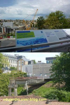 Poitiers, démolition de la grande passerelle, panneaux et morceau restant