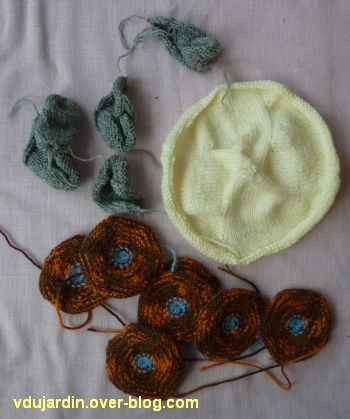 Une tortue au tricot : avant assemblage