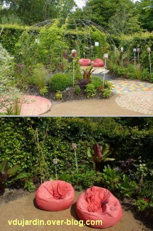 Chaumont-sur-Loire, festival des jardins 2012, jardin 5, 2, coin repos rouge