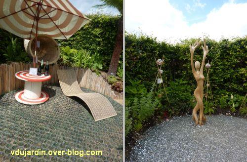 Chaumont-sur-Loire, festival des jardins 2012, jardin 5, 3, coin repos en osier et sculpture