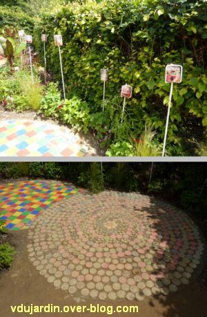 Chaumont-sur-Loire, festival des jardins 2012, jardin 5, 4, bocaux et sol en pots de confiture