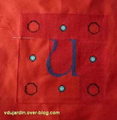 le U et le N pour l'oriflamme de Kutzenhausen, 2, début du remplissage et diamants