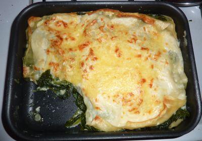 Lasagnes aux épinards et aux fanes de radis