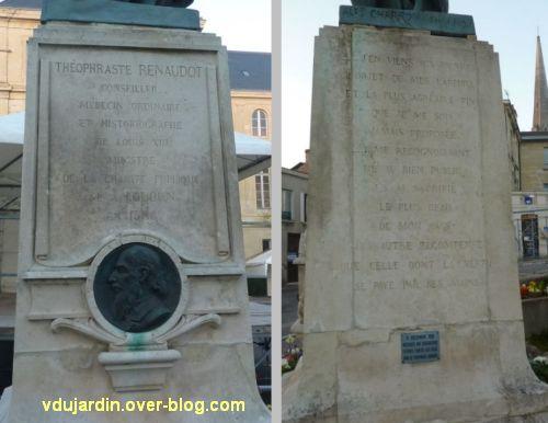 Le monument Théophraste Renaudot à Loudun, 4, les faces avant et droite du piédestal