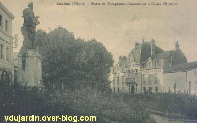 Le monument Théophraste Renaudot à Loudun, carte postale ancienne