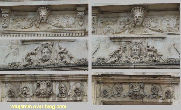 Poitiers, 3 rue Victor Hugo, 6, détail des linteaux des deux travées gauches
